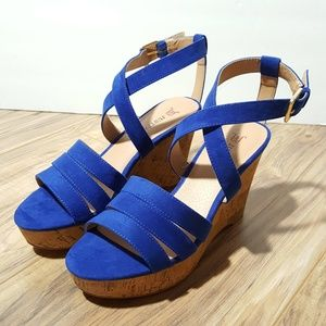 JustFab | blue suede sandal wedges sz 6M